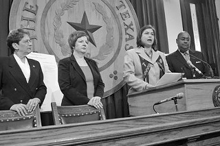 At a press conference on Monday, several Democratic representatives, including (l-r) Emily Cohen, Valinda Bolton, Jessica Farrar, and Rodney Ellis, demanded that the privately run but publicly funded Crisis Pregnancy Centers be forced to submit to some sort of government oversight.