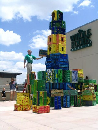 Produce crate tower, Whole Foods Market roof deck, 2005