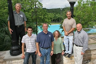 On the restored Deep Eddy terrace, members of the construction planning team: (l-r) Leon Barish, Friends of Deep Eddy; Matt Escobedo, Escobedo Construction; Tony Arnold, Austin Parks & Recreation Department; Laurie Limbacher, Limbacher & Godfrey; Paul Bardagjy, Friends of Deep Eddy; Farhad Madani, PARD. Not pictured, Blake Tollett, Friends of Deep Eddy.