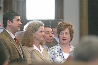 (Front row, l-r) Austin Reps. Eddie Rodriguez, Donna Howard, and Valinda Bolton. Hubert Vo of Houston is standing behind them.