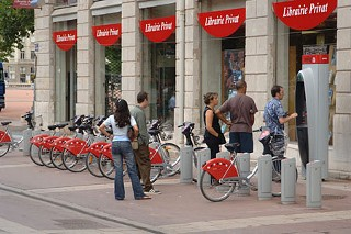Free Transportation Cycling: To use one of 3,000 bikes at about 200 locations in Lyon, France, some 15,000 users each day just swipe a cash card or member card at an ATM-like kiosk to get a bike -- and 90% of the bike commutes are free.