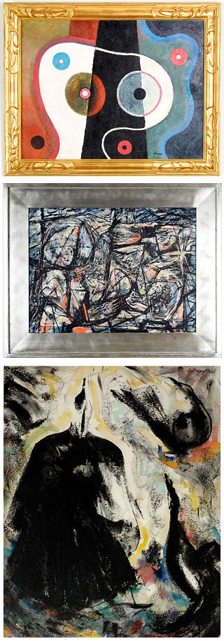 From top to bottom: Michael Frary, <i>Straight and Curved</i>; Constance Forsyth, <i>Grackles</i>; Everett Spruce, <i>Untitled Abstract</i>