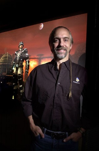 Gen. British's real-world alter ego, Richard Garriott, takes a break from battling the Bane.