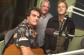 Save Town Lake members (l-r) Bill Oliver, Tom Cooke, and Bob Livingston took their message, and music, to KGSR studios Tuesday morning.