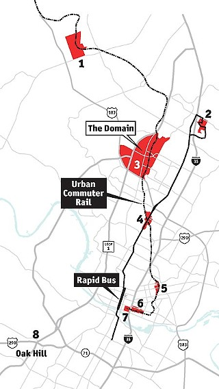 The Domain could be among the commuter-rail stops added to the city's growing list of current and proposed transit-oriented developments.