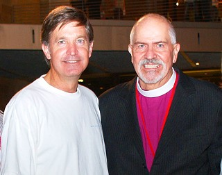 Mayor Will Wynn and the Rev. Troy Perry, whose revolutionary 1972 book, <i>The Lord Is My Shepherd and He Knows I'm Gay</i>, has made him an icon, pose together on the dais at the opening party for the Austin Gay &amp; Lesbian International Film Festival. A documentary on Perry premiered earlier in the evening.