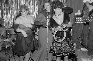 The JJGirls pose at their first gig, Austin's Top Hat, 1984: Margaret Moser, Lisa Gramache, and Alice Berry.