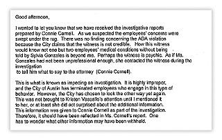 Excerpt from an Aug. 27 e-mail sent to City Council by union rep. Carol Guthrie