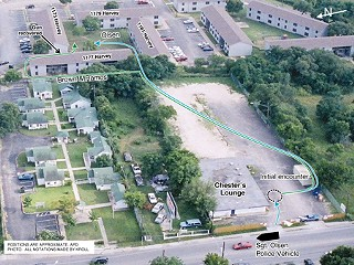 These photos show the paths taken by Kevin Brown, Austin Police Department Sgt. Michael Olsen, and Officer Ivan Ramos from the parking lot at Chester's Nightclub, over the back fence, and into a nearby apartment complex, where Olsen intercepted Brown's flight and shot him twice in the back – first as he turned to run away and again when he was on the ground (X in photo below). Brown had apparently dropped the handgun he was carrying before he reached the courtyard and was unarmed when he was shot. APD Chief Art Acevedo terminated Olsen, ruling that he had failed to use common sense, good judgement, and proper police tactics and that the shooting was unjustified.