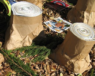 Austin Green Art was out on the stump on Tuesday when the group built a mobile forest to protest how much paper is wasted on store catalogs. The demonstration, outside of the Sears at the Hancock Shopping Center, was part of a national day of action organized by ForestEthics to encourage big retailers to print fewer catalogs and use more recycled paper. To show how much paper is wasted, local artist Warren McKinney constructed tree stumps out of bags and bundles of old catalogs. Sears and its subsidiary Lands' End produce 425 million catalogs a year. That's enough to cover the Sears Tower six times a day for the whole year, said Austin Green Art's Randy Jewart. Much of the wood pulp used comes from the Boreal Forest in Canada, which is being clear-cut at the rate of 2 acres a minute. Eighty percent of that goes to the U.S. and then straight in the trash, Jewart said.                      - <i>Richard Whittaker</i>