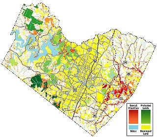 The Travis County Greenprint shows overall conservation priorities for the county. The green shades range from dedicated parkland (light green) to water quality protection lands (dark green). Areas in orange have a moderate conservation priority, and areas in dark red have a high conservation priority. For a more precise view, <a href=/media/content/571914/travis_county_greenprint_map.pdf target=blank><b>download the map</b></a> or see the original version, created by Christian Smith for the Trust for Public Land, <b><a href=http://www.tpl.org/ target=blank>www.tpl.org</a></b>.