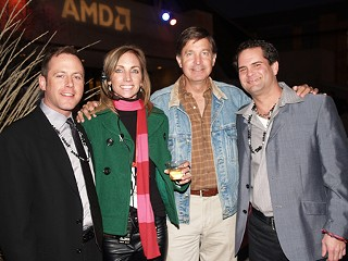 (L-r) Actor and model Stephen Rice, PR whiz and model Patricia Paredes, mayor and model Will Wynn, and model scout Mark Erwin at the mayor's NYE party