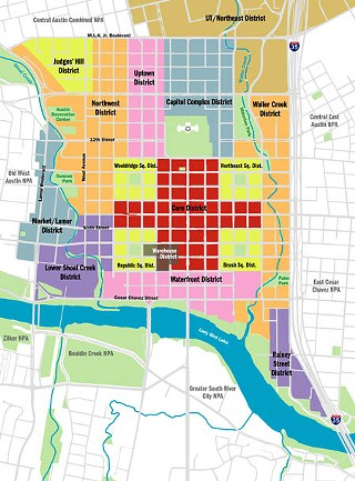 Defining Districts:  A new plan and code tailored by Downtown districts could best respond to each area's special features. This could protect and enhance a uniquely Austin character, match community values to locales, and build consensus for implementing the overall plan.