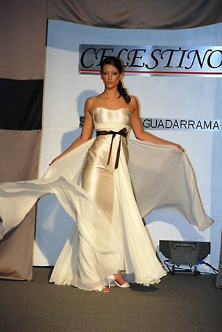 A cream-colored silk gown made a splash on the runway of the Celestino Couture by Sergio Guadarrama collection, presented by St. Thomas Boutique. <p>Photo courtesy of Celestino Couture
