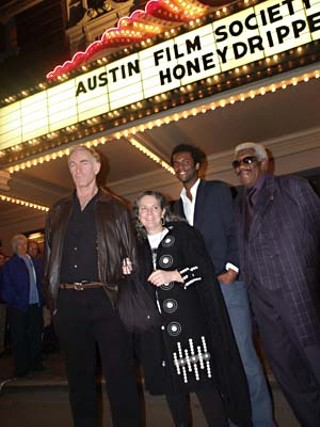 At the Austin Film Society's premiere of writer/director John Sayles' new film, Honeydripper, starring Austin guitar virtuoso Gary Clark Jr.:  (l-r) John Sayles, producer and partner Maggie Renzi, Gary Clark Jr., and sax legend Eddie Shaw<br />Photo by Seabrook/juicythis.com
