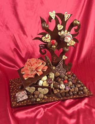Chocolate showpiece incorporating products from local chocolatiers created by Texas Culinary Academy chef instructors Aimee Olson and Earl Vallery, currently on display at TCA.