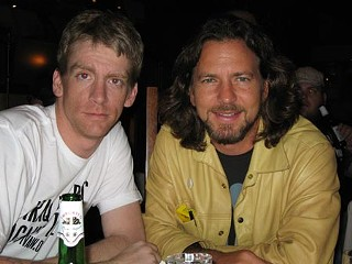 <i>Chronicle</i> Senior Film Editor Marjorie Baumgarten's dinner companions &ndash; Tomas Young (l) and Eddie Vedder &ndash; at the Toronto Film Festival, September 2007