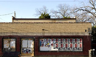 Election day 2008: These weathered and worn Obama posters offer a message of hope on a building at East 12th and Leona streets.