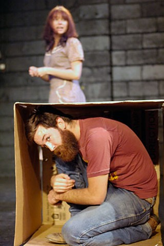 Actor in a box: Thomas Graves with Shawn Sides
