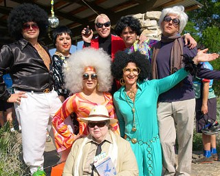Pit Stop No. 1 starring (front) Truman Capote, (middle l-r) Disco Diva and Diana Ross, (back l-r) Disco Divo, Liza Minnelli, Halston, Fat Liz Taylor, and Andy Warhol