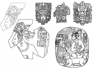 Drawings by Linda Schele: (clockwise from left) panel reconstruction from Palenque, three headdress styles, panel from Palenque