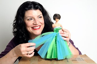 Barbara Chisholm with Barbie in her Enchanted Evening gown