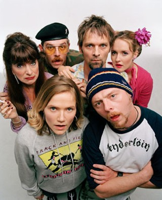 Jessica Hynes and Simon Pegg (front) and the cast of <i><b>Spaced</b></i>