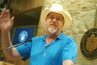 Asleep at the Wheel's Ray Benson was at City Hall Wednesday to plug a new water-conservation campaign.