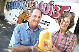 Good Flow owners Tom and Judy Crofut posed for this picture when they won Best Locally Produced Food Product in the Readers Poll for the <b><i>Chronicle</i></b>'s 2004 Best of Austin issue.