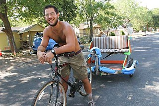 Luke Iseman and his newly approved pedicab