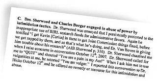On Oct. 21, Dr. Robert Van Boven wrote an 11-page letter to the U.S. Senate Committee on Veterans Affairs, asking for a review of questionable actions and procedures at the Central Texas Veterans Health Care System in Temple. This excerpt from the letter offers a snapshot of one of Van Boven's allegations as well as the personal atmosphere at the Central Texas system. <a href=/media/content/696352/3vbtosenatevetaffairs10_21_08.pdf target=blank><b>Download the whole letter</b></a>.