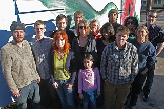 These activists believe Brandon Darby reported on their activities to the FBI. Those interviewed for this story include Scott Crow (back, center). Next to Crow is Ann Harkness. Simon Evans is back row, far right, and Lisa Fithian stands in front of Evans.