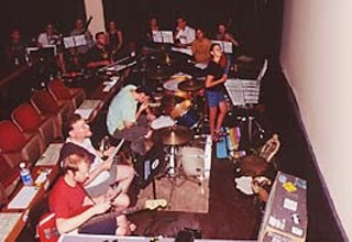 Members of Brown Whörnet and Golden Arm Trio rehearse at the Alamo Drafthouse Theatre for screenings of <i>The Lost World</i>.