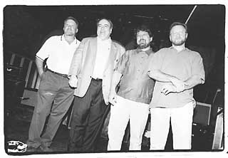 left to right: Joe Ables (owner of Saxon Pub), Clifford Antone (Antone's), Danny Crooks (Steamboat), and Craig Hillis (former owner of Steamboat)