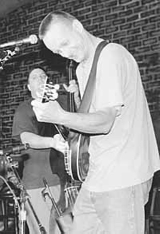Mark and Danny at the Austin Acoustic Music Festival, 1997