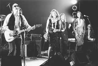 Doug Sahm with Angela Strehli, Sarah Brown, Marcia Ball, and Denny Freeman at the Austin Music Awards 1988-89.