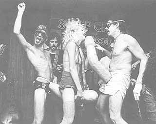 As seen in <i>OUI </i>magazine, 1978 (l-r): Rick Turner, Kent Temple, porn star Serena, and Artly Snuff with the first incarnation of the Penises