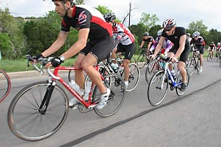 Cyclists head south on MoPac on a recent Saturday morning.