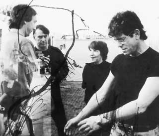 The Velvet Underground (l-r): Sterling Morrison, John Cale, Maureen Tucker, and Lou Reed. Reunion Tour, Switzerland, 1993