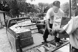 Food donated to the Capital Area Food Bank arrives from a variety of sources: grocery stores, produce distributors, even the Texas Department of Corrections Hobby unit farm near Waco.
