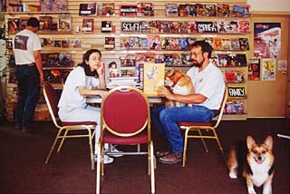 We don't want to censor what any adult can see, says Cecilia Bonvillain,  manager of Dragon's Lair Comics and Fantasy, with store owner David Wheeler.