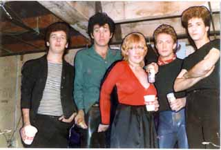With the Romantics backstage at Club Foot, Say cheese, said the photographer. I grabbed Jimmy the drummer in the crotch.