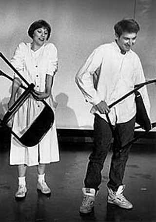 Catmull and David Stahl as Emily Webb and George Gibbs in the Big State Productions staging of <i>Our Town</i>, 1991