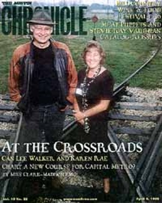 April 9,1999: After Karen Rae had been in Austin for six months, we figured she was ready to stand in the rain with a really tall guy. This was when Cap Met kicked off its AIM process to see if Austin really wanted Cap Met to pursue light rail. You know the answer.