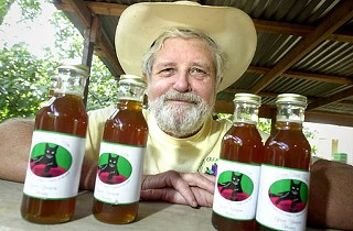Larry Butler and yaupon honey from Boggy Creek Farm