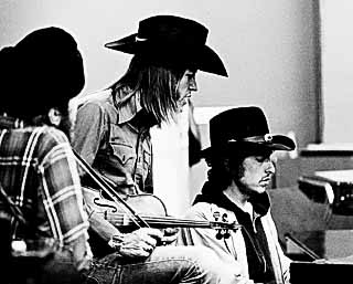 (l-r) Dr. John, Doug Sahm, and Bob Dylan