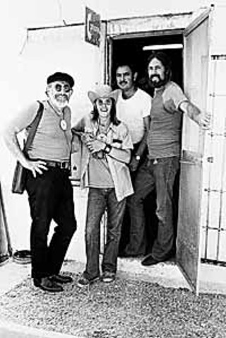 Outside Zaz Records in  San Antonio (l-r) Jerry, Doug, unidentified, and Augie, 1972