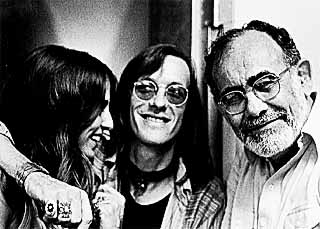 Doug Sahm (middle), Jerry Wexler, and an unidentified woman circa 1973