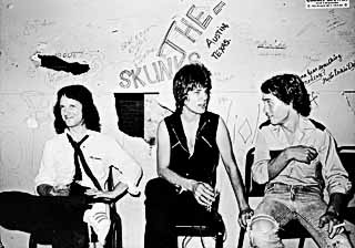 Backstage at Crazy Bob's, 1979: (l-r) Billy Blackmon, Jesse Sublett, Jon Dee Graham