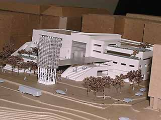 Architectural model of the proposed City Hall from the southeast, showing the concert stage, light tower, and amphitheater seating
